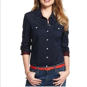 Tommy Hilfiger Navy Blue Button Down Blouse